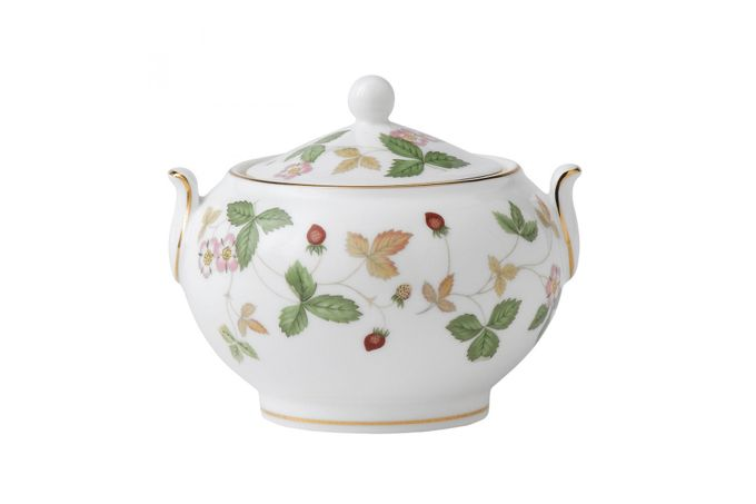 "Wedgwood Wild Strawberry Sugar Bowl - Lidded (Tea) Squat - 3 1/2"" approximate height including lid"