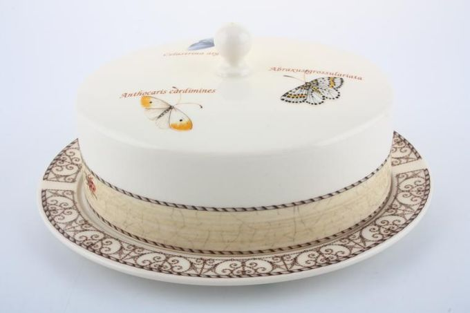 Wedgwood Sarah's Garden - Cream and Terracota Butter Dish + Lid Cream lid, Blue base